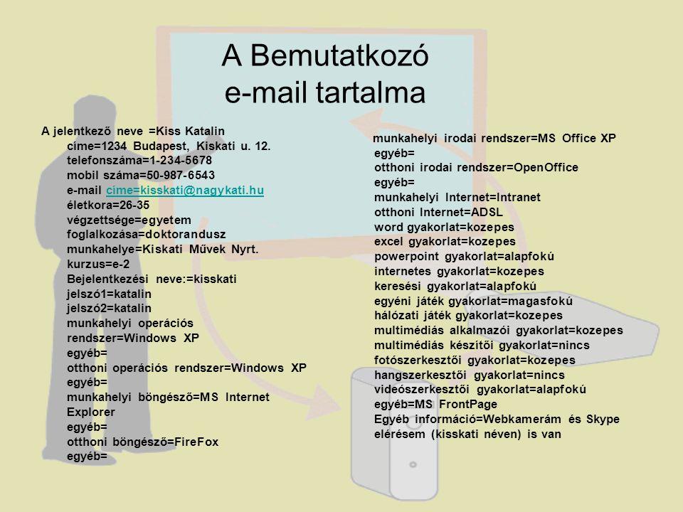 A Bemutatkozó e-mail tartalma A jelentkező neve =Kiss Katalin címe=1234 Budapest, Kiskati u.