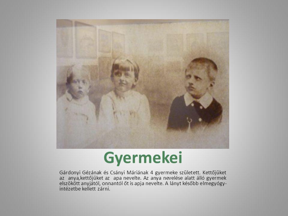Felesége Gárdonyi 1885. október 28-án Győrben lépett házasságra Csányi Máriával, a dabronyi római katolikus plébános, Muraközy József törvénytelen tiz