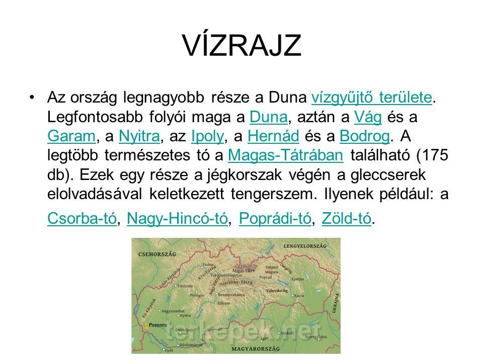 VÍZRAJZ Az ország legnagyobb része a Duna vízgyűjtő területe. Legfontosabb folyói maga a Duna, aztán a Vág és a Garam, a Nyitra, az Ipoly, a Hernád és