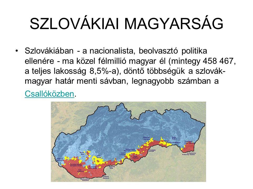 SZLOVÁKIAI MAGYARSÁG Szlovákiában - a nacionalista, beolvasztó politika ellenére - ma közel félmillió magyar él (mintegy 458 467, a teljes lakosság 8,5%-a), döntő többségük a szlovák- magyar határ menti sávban, legnagyobb számban a Csallóközben.