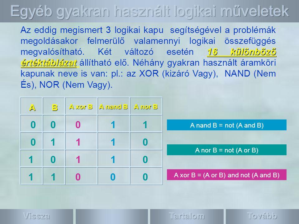 16 különböző értéktáblázat 16 különböző értéktáblázat Az eddig megismert 3 logikai kapu segítségével a problémák megoldásakor felmerülő valamennyi logikai összefüggés megvalósítható.