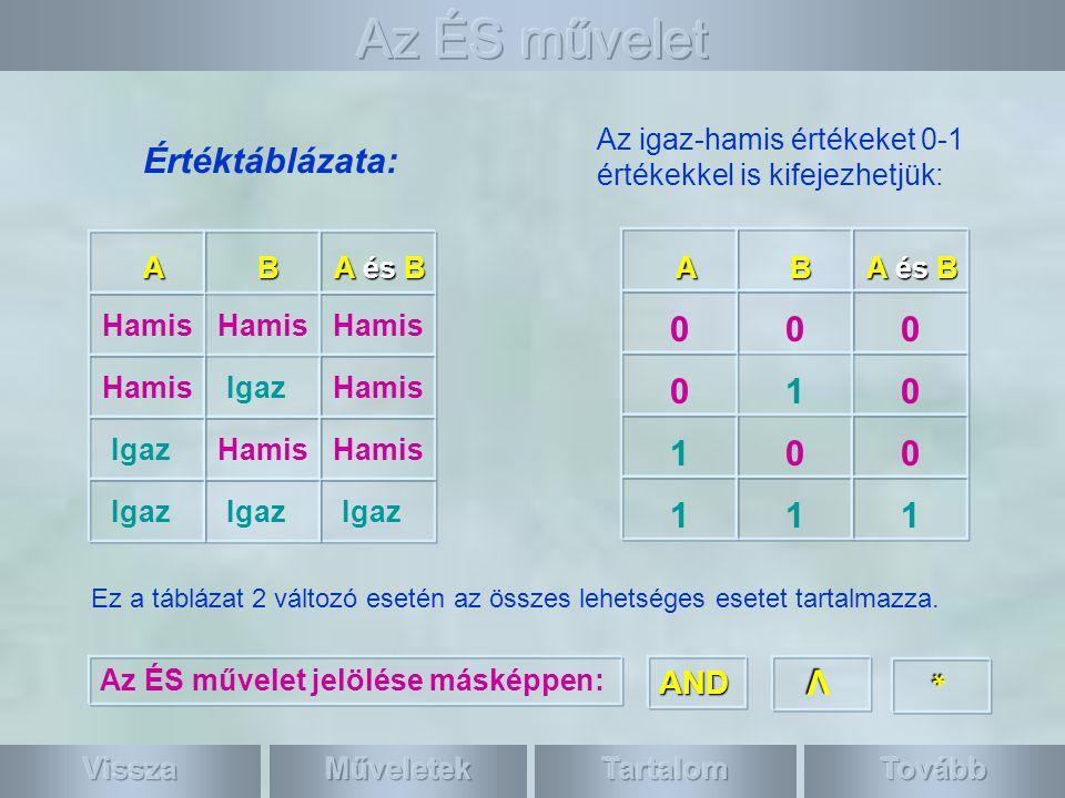 Az igaz-hamis értékeket 0-1 értékekkel is kifejezhetjük: 010 111 Értéktáblázata: Ez a táblázat 2 változó esetén az összes lehetséges esetet tartalmazza.