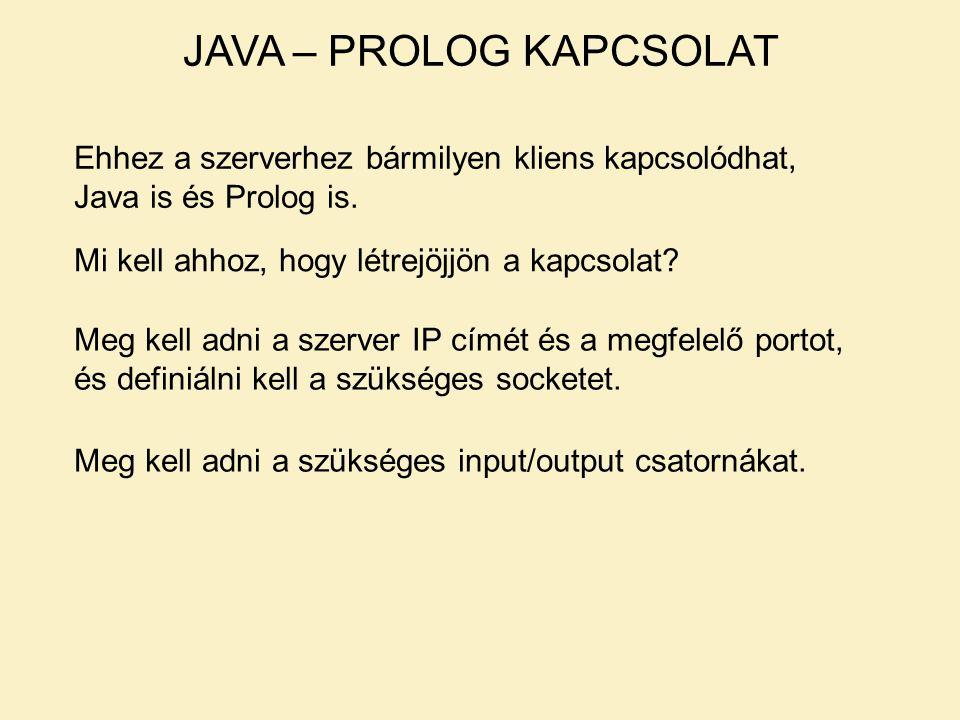 JAVA – PROLOG KAPCSOLAT Ehhez a szerverhez bármilyen kliens kapcsolódhat, Java is és Prolog is. Mi kell ahhoz, hogy létrejöjjön a kapcsolat? Meg kell