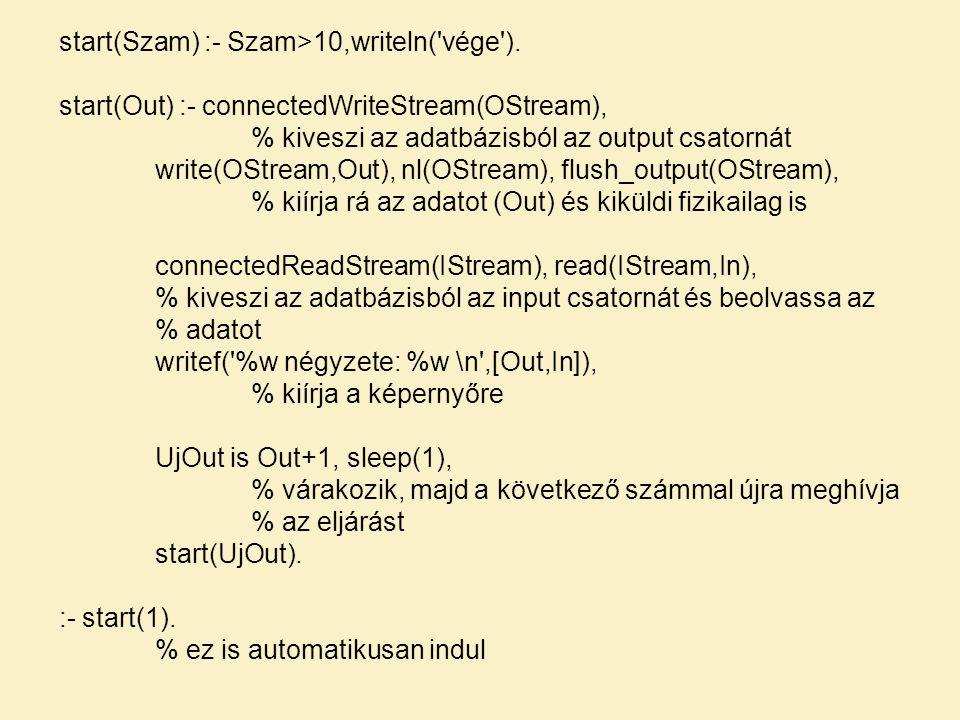 start(Szam) :- Szam>10,writeln('vége'). start(Out) :- connectedWriteStream(OStream), % kiveszi az adatbázisból az output csatornát write(OStream,Out),