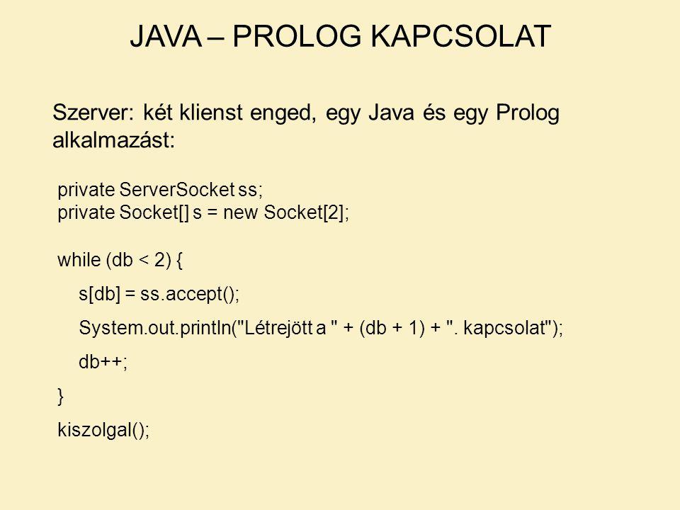 JAVA – PROLOG KAPCSOLAT Szerver: két klienst enged, egy Java és egy Prolog alkalmazást: private ServerSocket ss; private Socket[] s = new Socket[2]; while (db < 2) { s[db] = ss.accept(); System.out.println( Létrejött a + (db + 1) + .