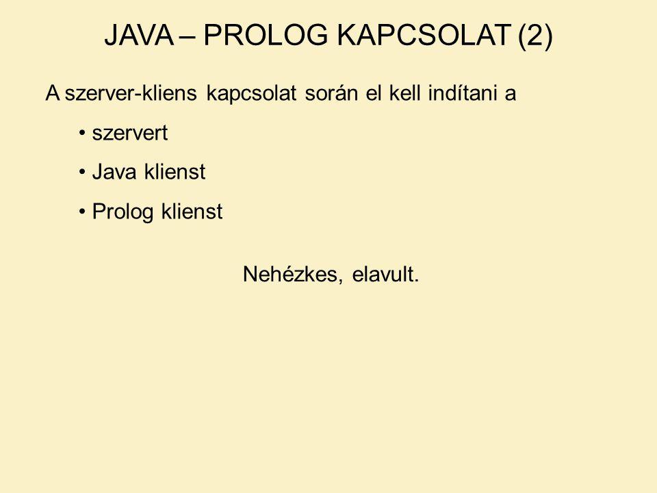 JAVA – PROLOG KAPCSOLAT (2) A szerver-kliens kapcsolat során el kell indítani a szervert Java klienst Prolog klienst Nehézkes, elavult.