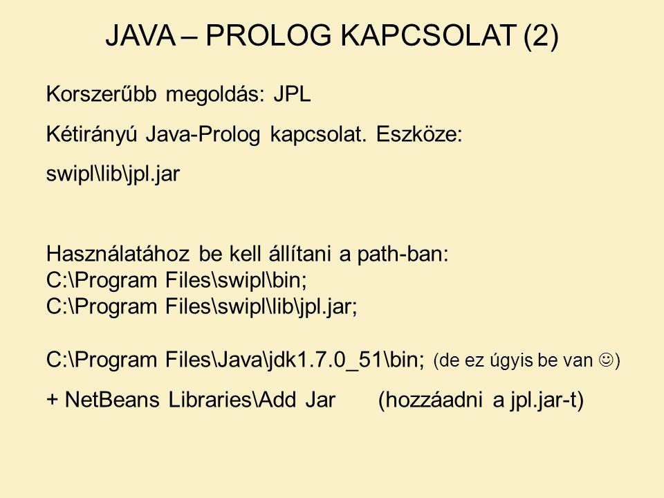 JAVA – PROLOG KAPCSOLAT (2) Korszerűbb megoldás: JPL Kétirányú Java-Prolog kapcsolat. Eszköze: swipl\lib\jpl.jar Használatához be kell állítani a path