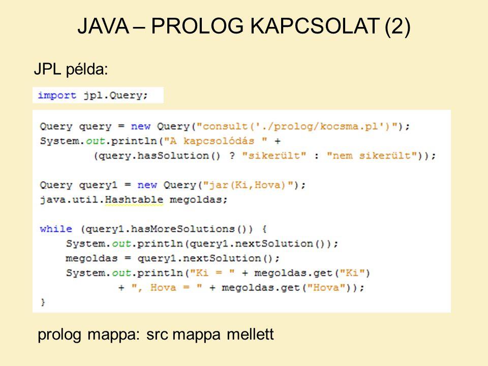 JAVA – PROLOG KAPCSOLAT (2) JPL példa: prolog mappa: src mappa mellett