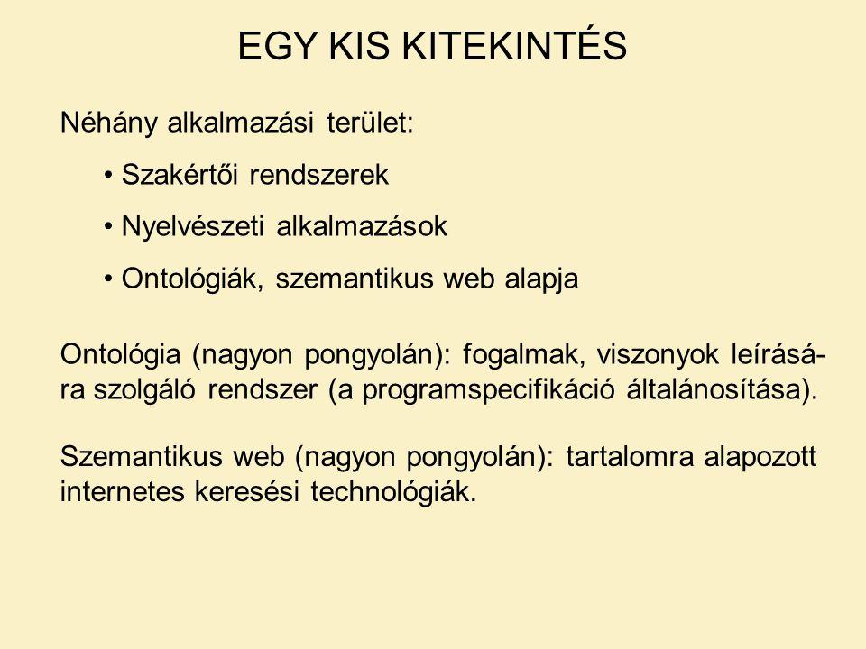 EGY KIS KITEKINTÉS Néhány alkalmazási terület: Szakértői rendszerek Nyelvészeti alkalmazások Ontológiák, szemantikus web alapja Ontológia (nagyon pongyolán): fogalmak, viszonyok leírásá- ra szolgáló rendszer (a programspecifikáció általánosítása).