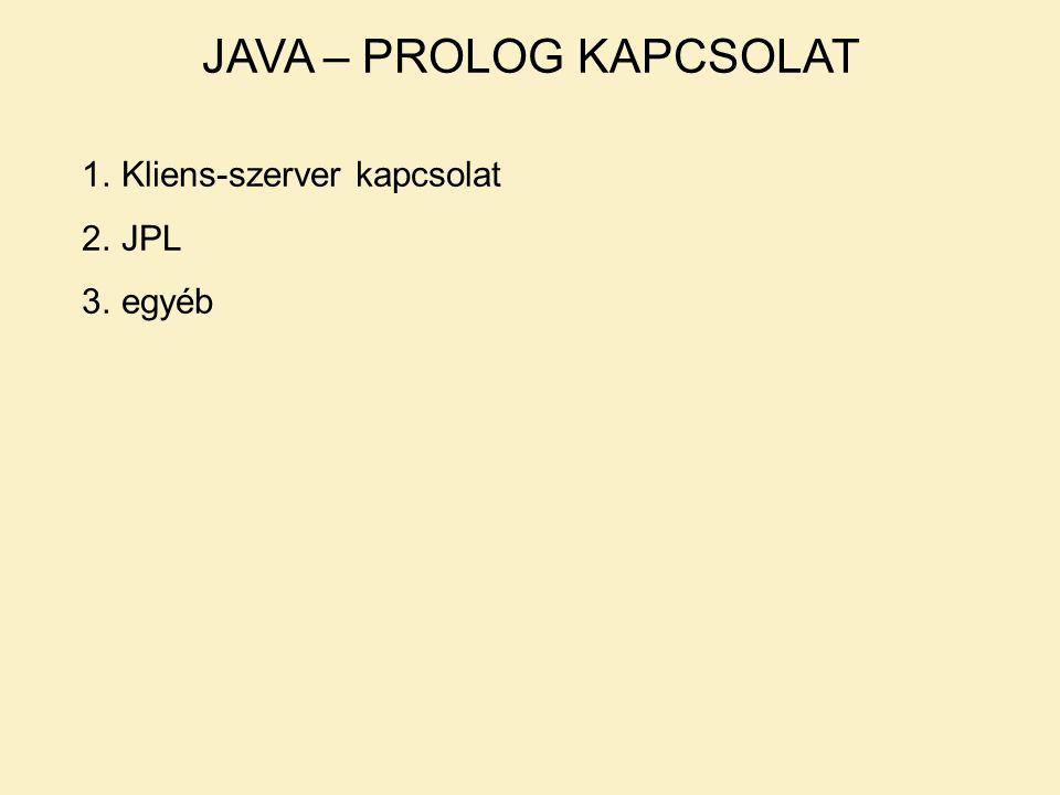JAVA – PROLOG KAPCSOLAT 1.Kliens-szerver kapcsolat 2.JPL 3.egyéb