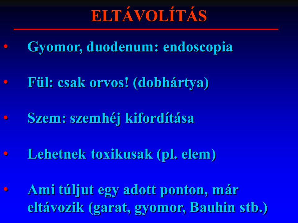 ELTÁVOLÍTÁS Gyomor, duodenum: endoscopia Fül: csak orvos! (dobhártya) Szem: szemhéj kifordítása Lehetnek toxikusak (pl. elem) Ami túljut egy adott pon