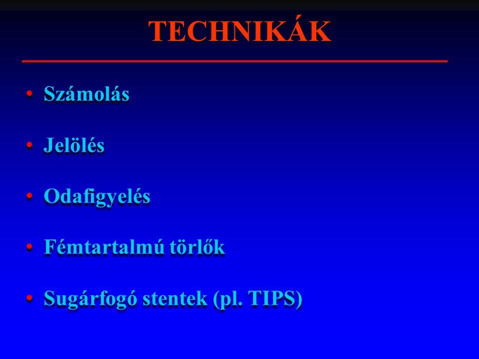 TECHNIKÁK Számolás Jelölés Odafigyelés Fémtartalmú törlők Sugárfogó stentek (pl. TIPS) Számolás Jelölés Odafigyelés Fémtartalmú törlők Sugárfogó stent