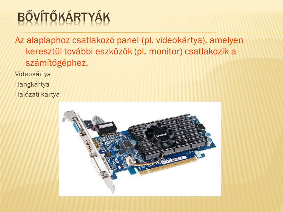 Az alaplaphoz csatlakozó panel (pl. videokártya), amelyen keresztül további eszközök (pl. monitor) csatlakozik a számítógéphez, Videokártya Hangkártya