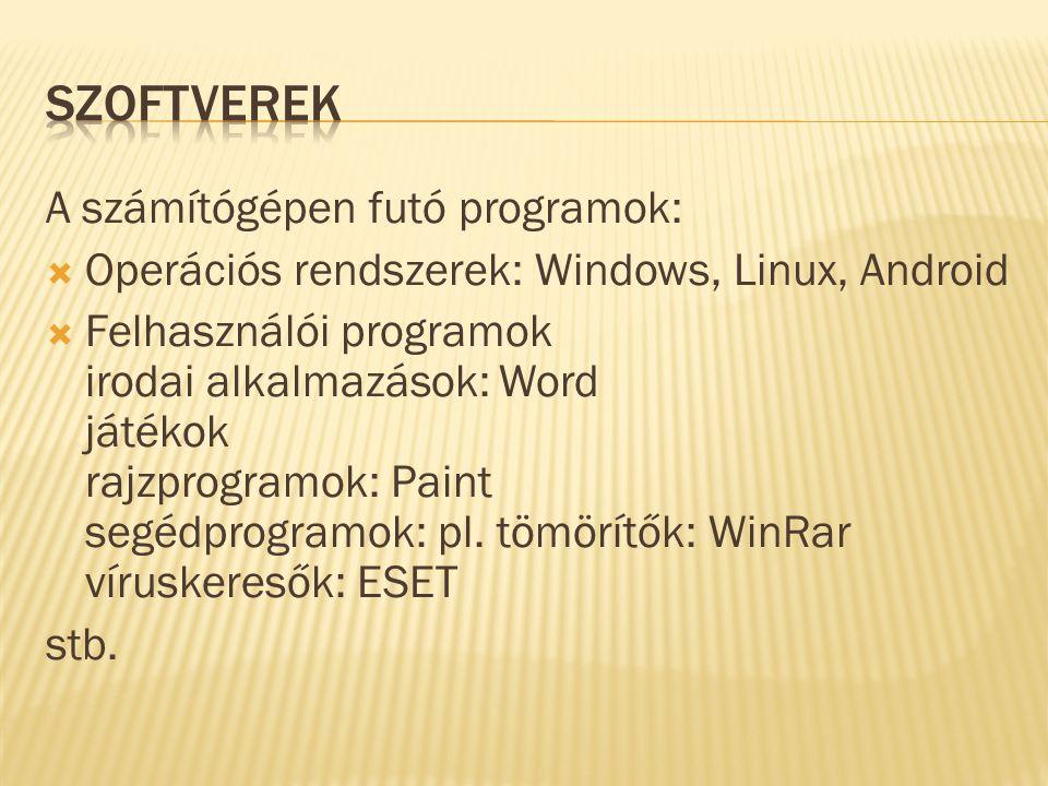 A számítógépen futó programok:  Operációs rendszerek: Windows, Linux, Android  Felhasználói programok irodai alkalmazások: Word játékok rajzprogramo