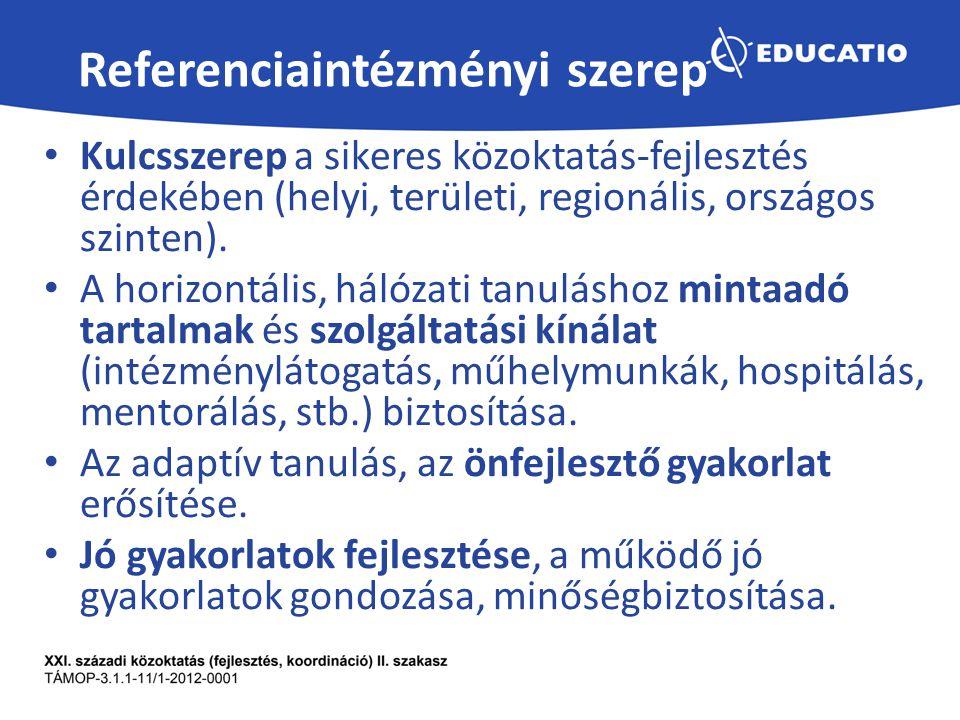 Referenciaintézményi szerep Kulcsszerep a sikeres közoktatás-fejlesztés érdekében (helyi, területi, regionális, országos szinten).
