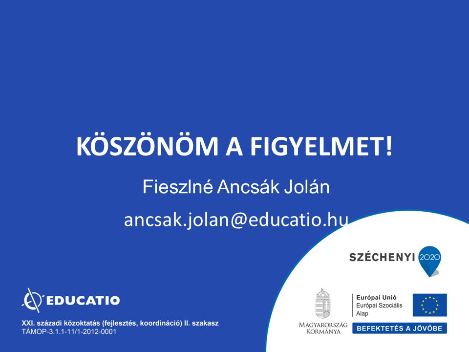 KÖSZÖNÖM A FIGYELMET! Fieszlné Ancsák Jolán ancsak.jolan@educatio.hu