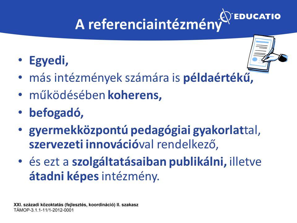 A referenciaintézmény Egyedi, más intézmények számára is példaértékű, működésében koherens, befogadó, gyermekközpontú pedagógiai gyakorlattal, szervezeti innovációval rendelkező, és ezt a szolgáltatásaiban publikálni, illetve átadni képes intézmény.