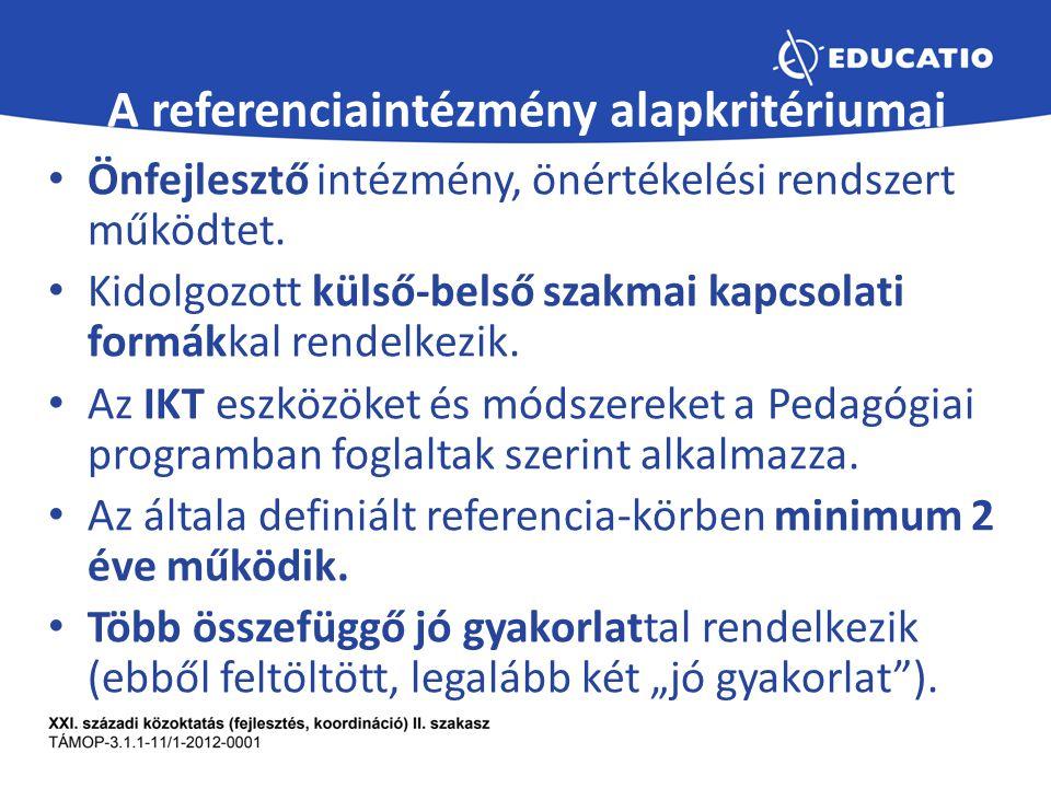 A referenciaintézmény alapkritériumai Önfejlesztő intézmény, önértékelési rendszert működtet.