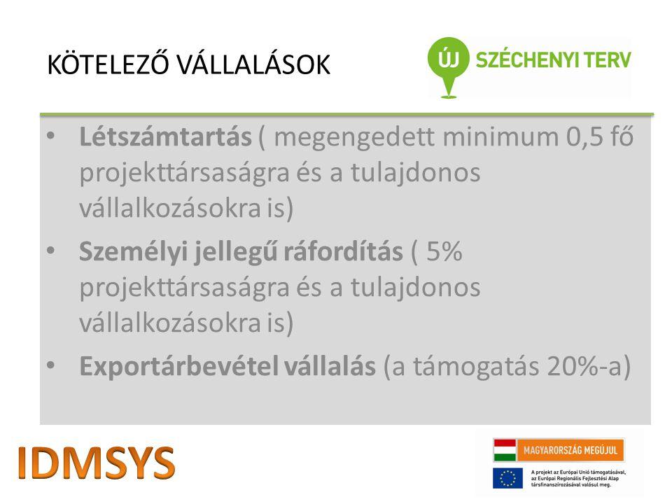 Létszámtartás ( megengedett minimum 0,5 fő projekttársaságra és a tulajdonos vállalkozásokra is) Személyi jellegű ráfordítás ( 5% projekttársaságra és a tulajdonos vállalkozásokra is) Exportárbevétel vállalás (a támogatás 20%-a) KÖTELEZŐ VÁLLALÁSOK