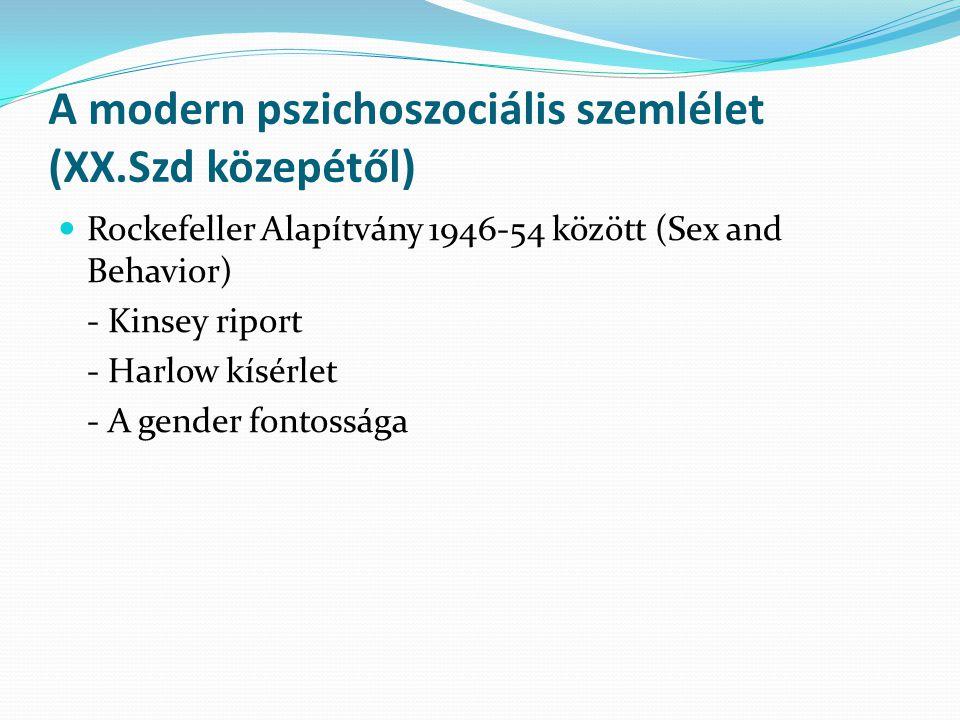 A modern pszichoszociális szemlélet (XX.Szd közepétől) Rockefeller Alapítvány 1946-54 között (Sex and Behavior) - Kinsey riport - Harlow kísérlet - A gender fontossága