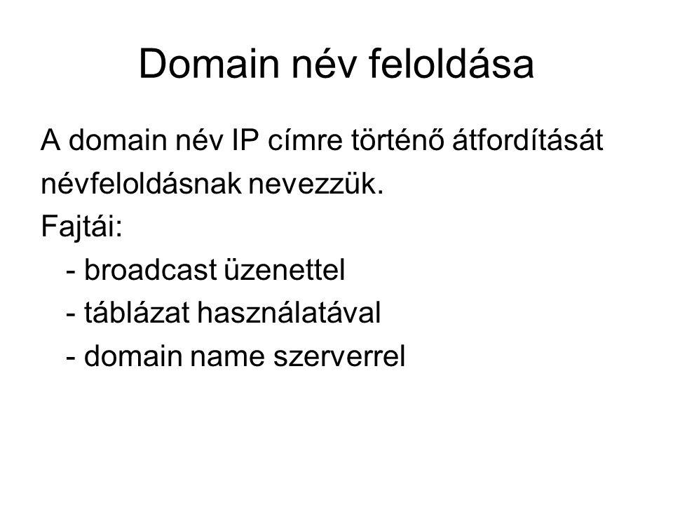 Domain név feloldása A domain név IP címre történő átfordítását névfeloldásnak nevezzük. Fajtái: - broadcast üzenettel - táblázat használatával - doma