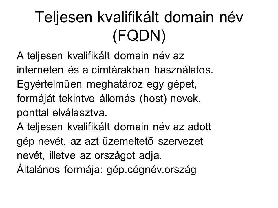 Teljesen kvalifikált domain név (FQDN) A teljesen kvalifikált domain név az interneten és a címtárakban használatos. Egyértelműen meghatároz egy gépet