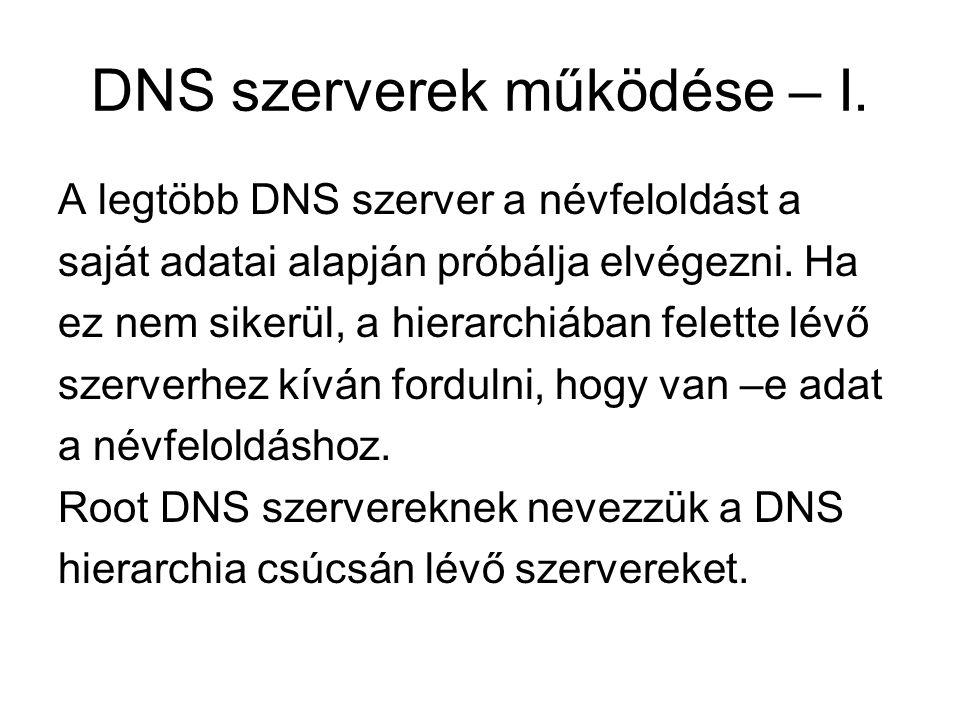 DNS szerverek működése – I. A legtöbb DNS szerver a névfeloldást a saját adatai alapján próbálja elvégezni. Ha ez nem sikerül, a hierarchiában felette
