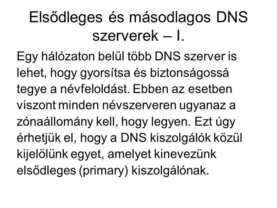 Elsődleges és másodlagos DNS szerverek – I. Egy hálózaton belül több DNS szerver is lehet, hogy gyorsítsa és biztonságossá tegye a névfeloldást. Ebben