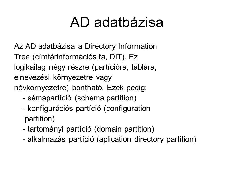 AD adatbázisa Az AD adatbázisa a Directory Information Tree (címtárinformációs fa, DIT). Ez logikailag négy részre (partícióra, táblára, elnevezési kö