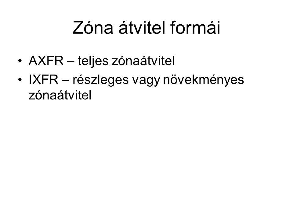 Zóna átvitel formái AXFR – teljes zónaátvitel IXFR – részleges vagy növekményes zónaátvitel