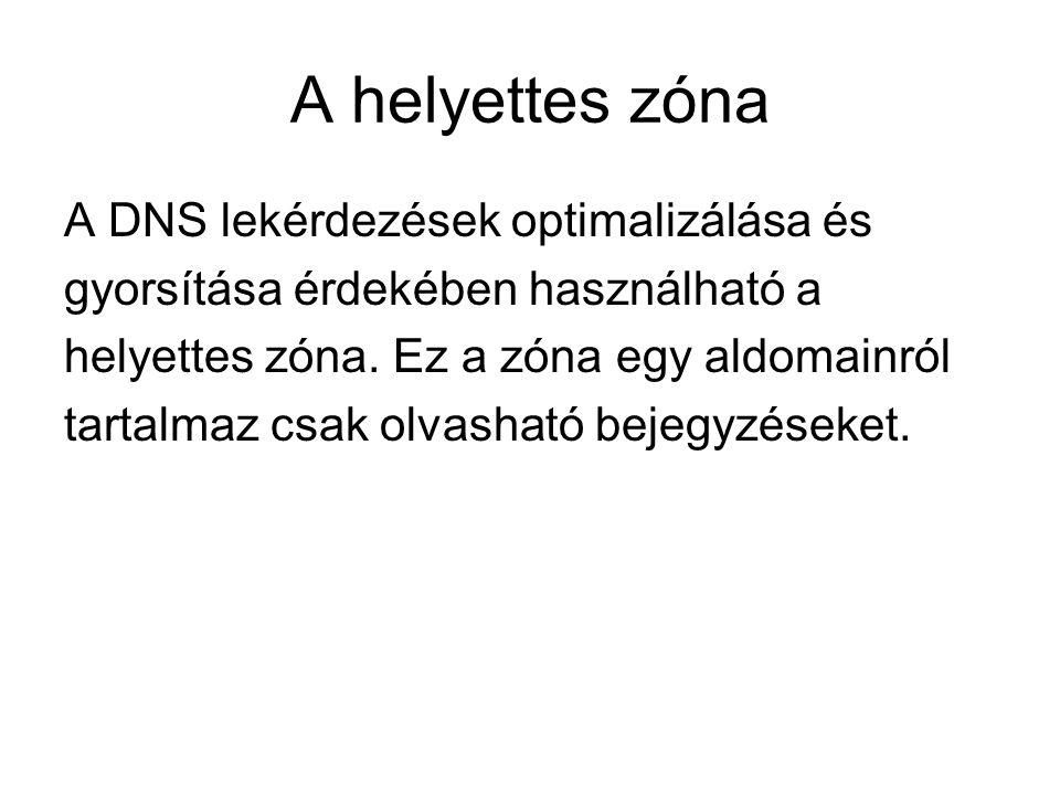 A helyettes zóna A DNS lekérdezések optimalizálása és gyorsítása érdekében használható a helyettes zóna. Ez a zóna egy aldomainról tartalmaz csak olva