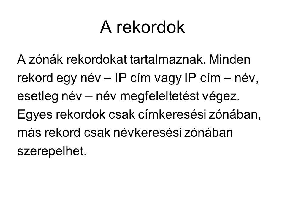A rekordok A zónák rekordokat tartalmaznak. Minden rekord egy név – IP cím vagy IP cím – név, esetleg név – név megfeleltetést végez. Egyes rekordok c