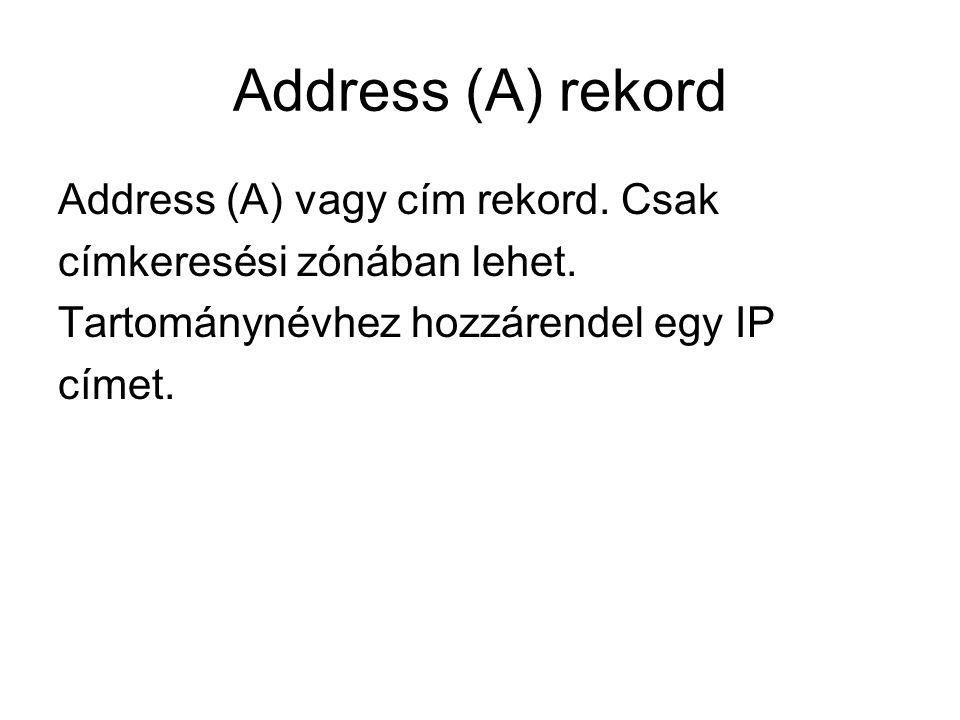 Address (A) rekord Address (A) vagy cím rekord. Csak címkeresési zónában lehet. Tartománynévhez hozzárendel egy IP címet.