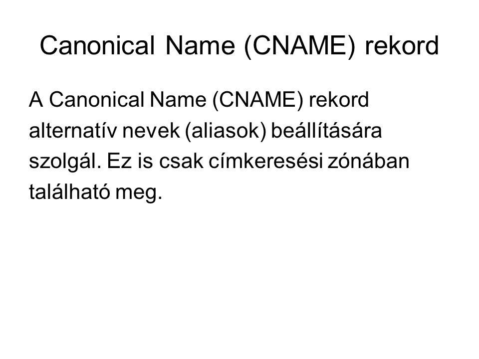 Canonical Name (CNAME) rekord A Canonical Name (CNAME) rekord alternatív nevek (aliasok) beállítására szolgál. Ez is csak címkeresési zónában találhat