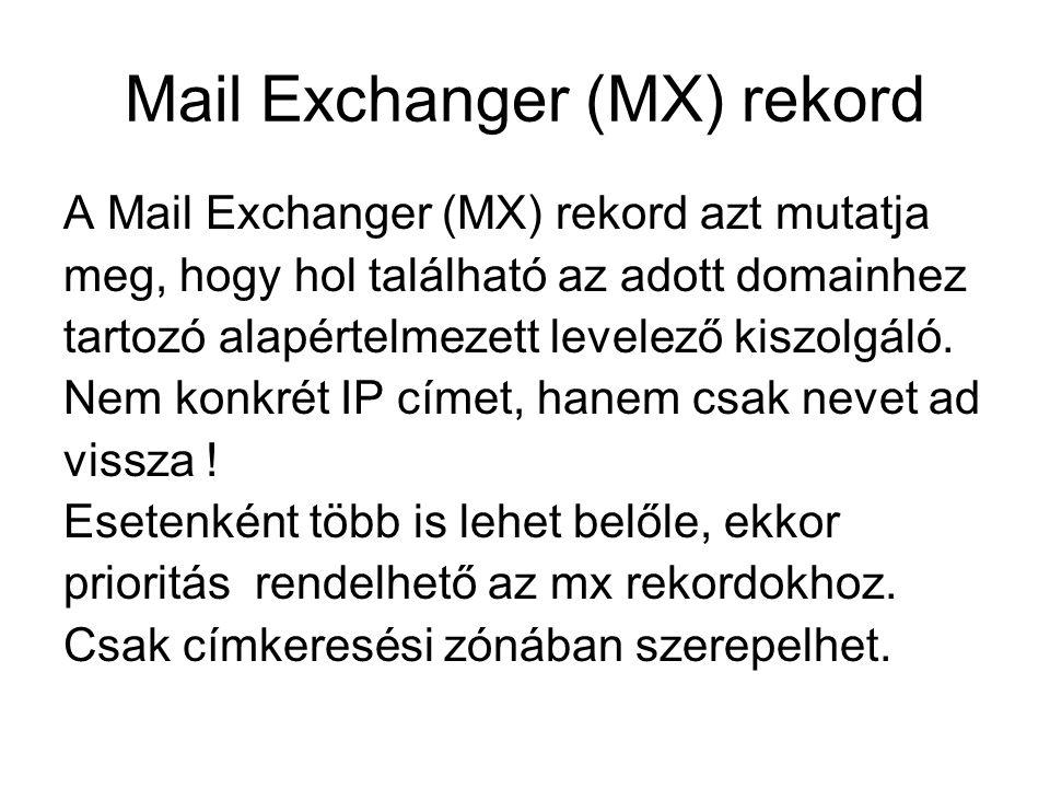 Mail Exchanger (MX) rekord A Mail Exchanger (MX) rekord azt mutatja meg, hogy hol található az adott domainhez tartozó alapértelmezett levelező kiszol