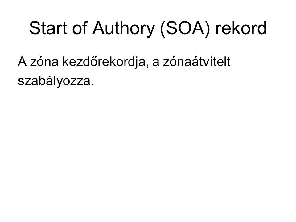 Start of Authory (SOA) rekord A zóna kezdőrekordja, a zónaátvitelt szabályozza.