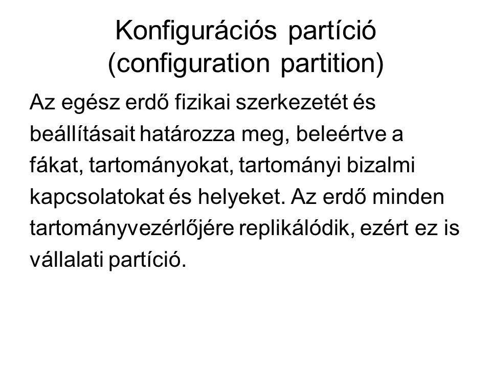 Tartományi partíció (domain partition) Minden információt tárol az adott tartomány objektumairól (beleértve a szervezeti egységeket, csoportokat, felhasználókat stb.).