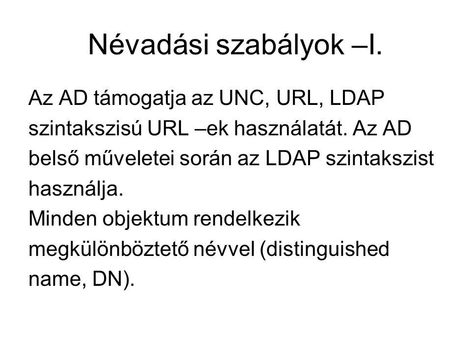 Névadási szabályok –I. Az AD támogatja az UNC, URL, LDAP szintakszisú URL –ek használatát. Az AD belső műveletei során az LDAP szintakszist használja.