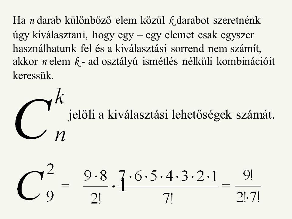 Ha n darab különböző elem közül k darabot szeretnénk úgy kiválasztani, hogy egy – egy elemet csak egyszer használhatunk fel és a kiválasztási sorrend nem számít, akkor n elem k - ad osztályú ismétlés nélküli kombinációit keressük.