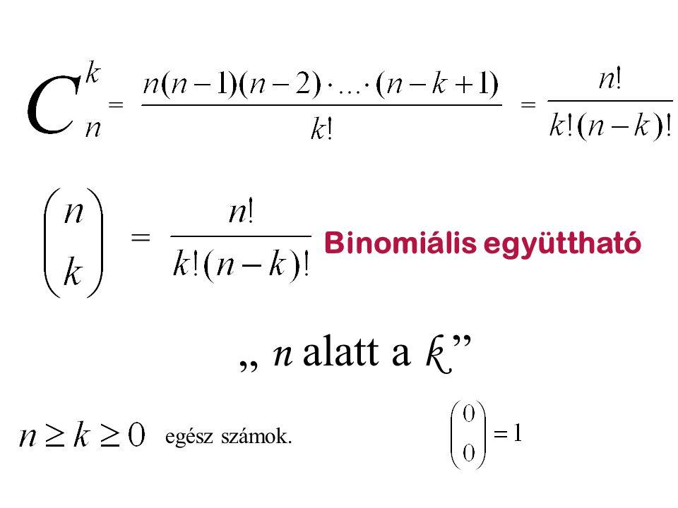 """== = Binomiális együttható """" n alatt a k """" egész számok."""