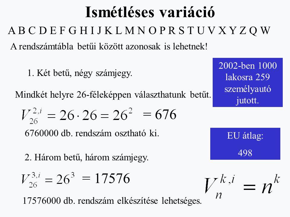 A B C D E F G H I J K L M N O P R S T U V X Y Z Q W A rendszámtábla betűi között azonosak is lehetnek! 1. Két betű, négy számjegy. Mindkét helyre 26-f