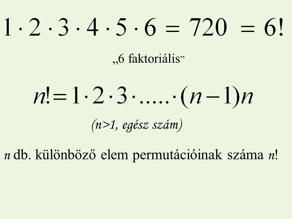"""n db. különböző elem permutációinak száma n!n! """"6 faktoriális (n>1, egész szám)"""