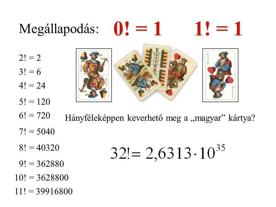 Megállapodás: 0! = 11! = 1 2! = 2 3! = 6 4! = 24 5! = 120 6! = 720 7! = 5040 8! = 40320 9! = 362880 10! = 3628800 11! = 39916800 Hányféleképpen keverh