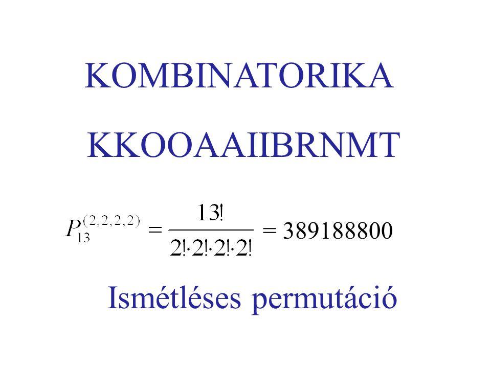 KOMBINATORIKA KKOOAAIIBRNMT = 389188800 Ismétléses permutáció