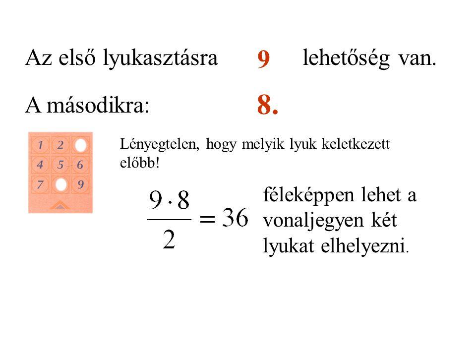 Az első lyukasztásralehetőség van. 9 A másodikra: 8. Lényegtelen, hogy melyik lyuk keletkezett előbb! féleképpen lehet a vonaljegyen két lyukat elhely