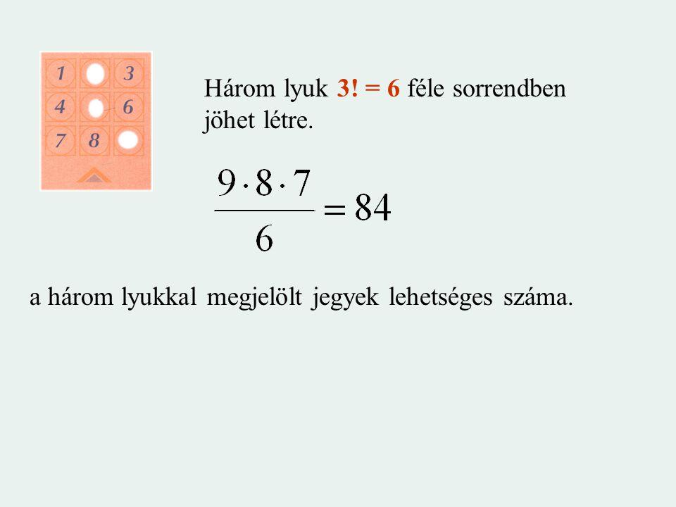 Három lyuk 3! = 6 féle sorrendben jöhet létre. a három lyukkal megjelölt jegyek lehetséges száma.