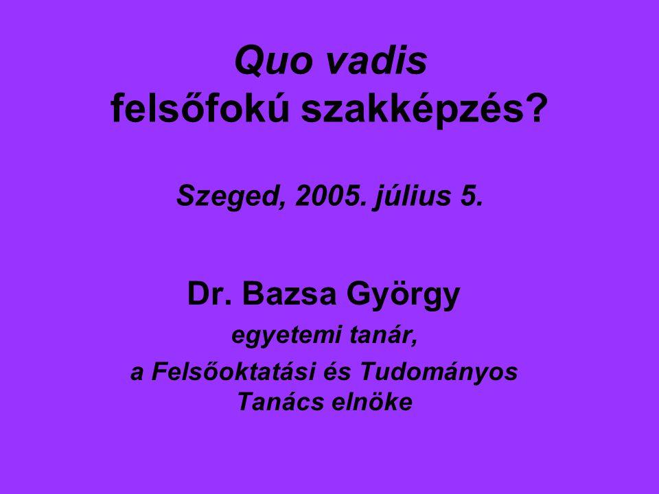 Quo vadis felsőfokú szakképzés. Szeged, 2005. július 5.