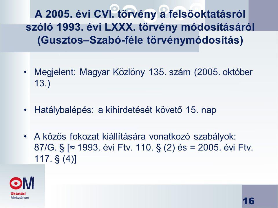 16 A 2005. évi CVI. törvény a felsőoktatásról szóló 1993. évi LXXX. törvény módosításáról (Gusztos–Szabó-féle törvénymódosítás) Megjelent: Magyar Közl
