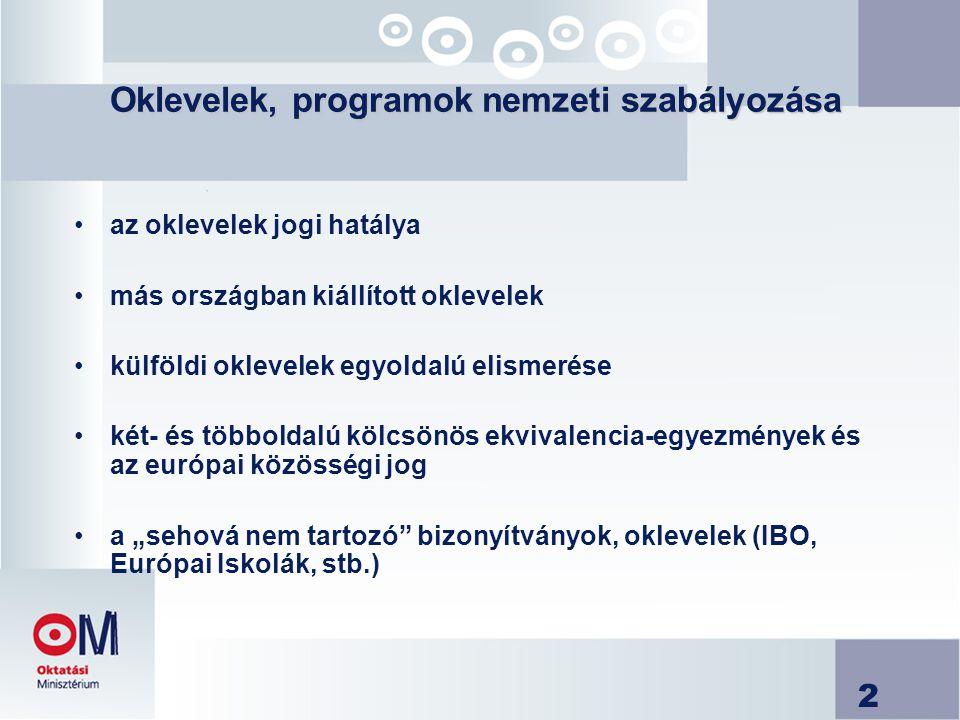 2 Oklevelek, programok nemzeti szabályozása Oklevelek, programok nemzeti szabályozása az oklevelek jogi hatálya más országban kiállított oklevelek kül