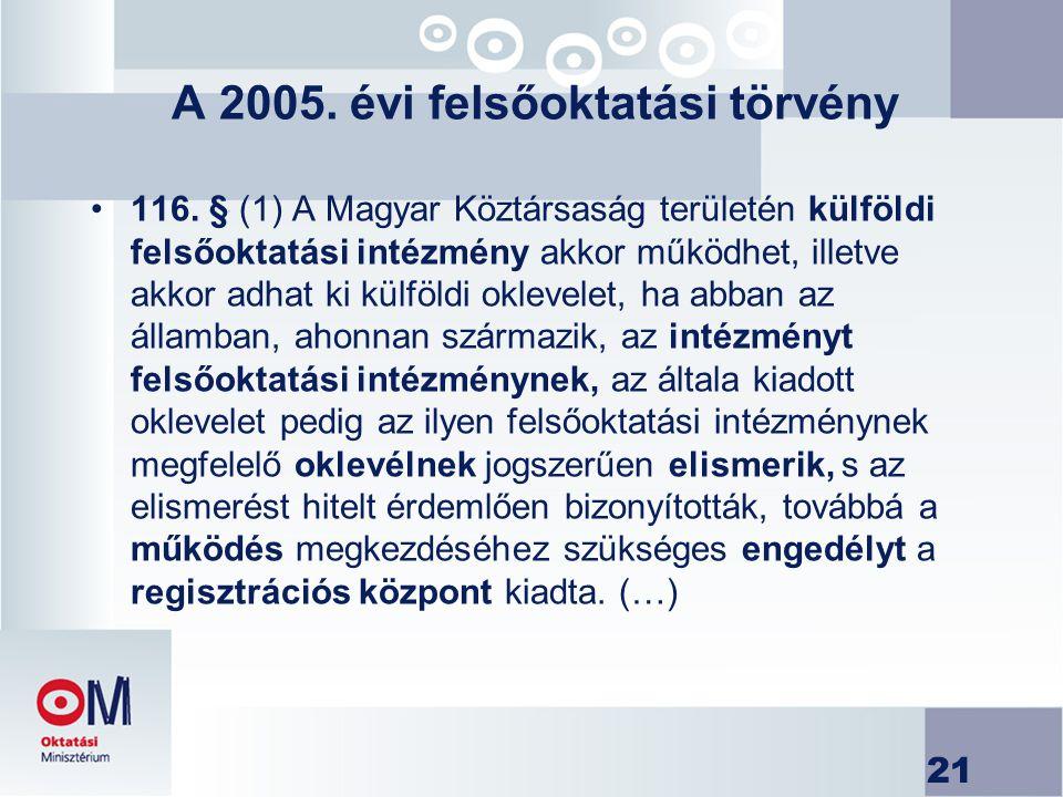 21 A 2005. évi felsőoktatási törvény 116. § (1) A Magyar Köztársaság területén külföldi felsőoktatási intézmény akkor működhet, illetve akkor adhat ki